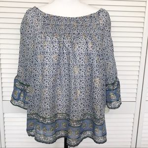 Beachlunchlounge Blue and Gold Blouse Large